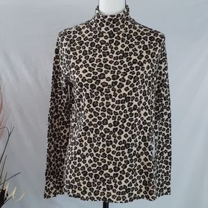 White Stag Leopard Print Turtle Neck Top Size L